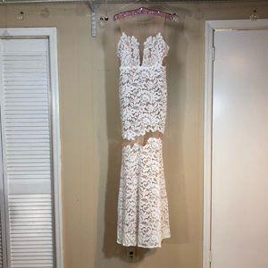 Mermaid WEDDING DRESS! Off White & Nude Lace